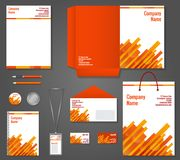 Geometric technology business stationery template. Red and orange geometric technology business stationery template for corporate identity and branding set stock illustration