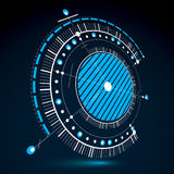 Geometric technology 3d vector drawing, blue technical wallpaper. Dimensional abstract scheme of engine or engineering mechanism Stock Photography