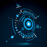 Geometric technology 3d vector drawing, blue technical wallpaper. Dimensional abstract scheme of engine or engineering mechanism Stock Photo