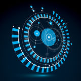 Geometric technology 3d vector drawing, blue technical wallpaper. Dimensional abstract scheme of engine or engineering mechanism Stock Photos