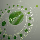 Geometric technology 3d vector drawing, green technical wallpape. R. Dimensional abstract scheme of engine or engineering mechanism Stock Images