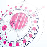 Geometric technology 3d vector drawing, magenta technical wallpa. Per. Dimensional abstract scheme of engine or engineering mechanism Stock Image