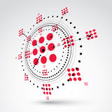 Geometric technology 3d vector drawing, red technical wallpaper. Dimensional abstract scheme of engine or engineering mechanism Stock Image