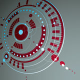 Geometric technology 3d vector drawing, red technical wallpaper. Dimensional abstract scheme of engine or engineering mechanism Royalty Free Stock Images