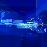 Geometric technology focus abstract blue colour background royalty free stock photography