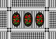 Geometric textile print with floral damask elements. Royalty Free Stock Photos