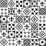 Geometric  tile design, Portuguese or Spnish seamless black and white tiles  Stock Photography