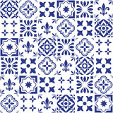 Geometric  tile design, Portuguese or Spnish seamless navy blue tiles, Azulejos pattern Royalty Free Stock Images