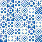 Geometric  tiles pattern, Portuguese or Spnish seamless blue tile design  Royalty Free Stock Image