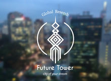 Geometric tower emblem. Vector skyscraper symbol for architecture building design or real estate business Royalty Free Stock Image