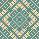 Geometric traditional folk ornament. Seamless pattern in tan and teal colors. Vector geometric traditional folk ornament. Elegant green and beige seamless royalty free illustration