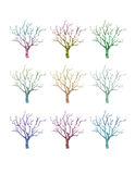 Geometric Tree Set. A set of geometric trees in different colors Stock Photography