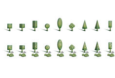 Geometric Trees. Illustration of a green trees with flowers, shrubs and stones Royalty Free Stock Photography