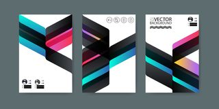 Geometric trendy illustration background, placard, striped multicolor geometric style flat and 3d design elements. Modern art for. Covers, banners, flyers and Stock Image