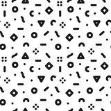 Geometric trendy seamless pattern in retro memphis style, fashion 80s - 90s.. Black and white mosaic texture royalty free illustration