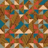 Retro autumn design seamless pattern. Geometric triangle with autumn leaves pattern. Vintage leaves popular design vector royalty free illustration