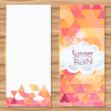 Geometric triangle brochure template with doodles Stock Image