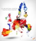 GEOMETRIC TRIANGLE DESIGN MAP OF THE EUROPEAN UNION vector illustration