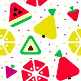 Geometric triangle fruits seamless pattern stock illustration