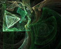 Geometric Triangles. Computer generated fractal illustration of geometric patterns of triangles and lines in green and gold on black Stock Photo