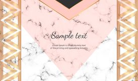 Geometric with triangles banner. Modern luxury and fashion design with marble texture. Horizontal template for business, card, fly vector illustration