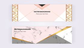Geometric with triangles web banners. Modern luxury and fashion designs with marble texture. Horizontal template for business, car stock illustration