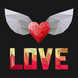 Geometric triangular abstract polygonal heart with wings and love word isolated on dark cover for valentines day or wedding card. Geometric triangular abstract Royalty Free Stock Photos