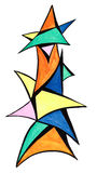 Geometric triangular objects drawn Stock Image