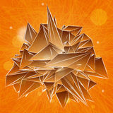 Geometric triangular orange shape on striped background Royalty Free Stock Photo
