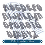 Geometric typescript in rotation, 3d industrial characters. Royalty Free Stock Photography