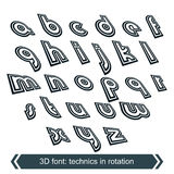 Geometric typescript in rotation, 3d industrial Stock Photos