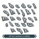Geometric typescript in rotation, 3d industrial Stock Photos