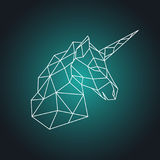 Geometric unicorn head. Side view. Royalty Free Stock Images