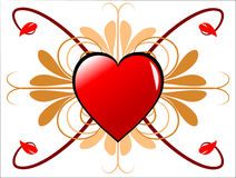 Geometric Valentines Hearts. A valentines day background of a single large red heart in the centre of the page with a uniform pattern of leaves on a white Stock Images