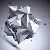 Geometric vector abstract 3D complicated lattice backdrop, asymm Royalty Free Stock Photography