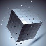 Geometric vector abstract 3D complicated lattice backdrop, contr. Ast eps8 conceptual tech deformed cube Stock Photos