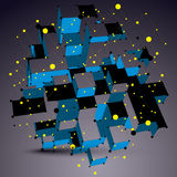 Geometric vector abstract 3D complicated lattice object, blue as Stock Images
