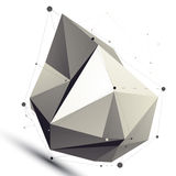 Geometric vector abstract 3D complicated lattice object, silver. Asymmetric figure Stock Image