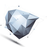 Geometric vector abstract 3D complicated lattice object, silver Stock Image