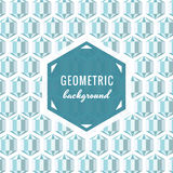 Geometric vector background (light blue) with hexagon crystals. Vintage style Stock Photos