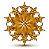 Geometric vector classic rounded golden element  on whit Stock Photo