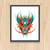 Geometric vector dragon concept on wooden background. Vector illustration for t-shirt print, tatto, web and mobile Royalty Free Stock Images