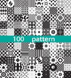 100 geometric vector pattern. Black and white seamless Royalty Free Stock Photography