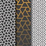 Geometric vector pattern, repeating linear triangle in black and white with sample golden gradient color background. Stock Images