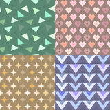 Geometric vector pattern set with stars, triangles and hearts Royalty Free Stock Images