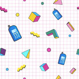 Geometric Vector pattern with stickers.90s or 80s. Hipster fashion Memphis style. Stock Images