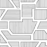Geometric vector seamless pattern with different geometrical forms. Striped square, triangle, rectangle. Modern techno minimal des. Ign. Abstract background stock illustration