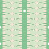 Geometric vector seamless vector pattern with stripes, ovals and circles in cool mint green color stock illustration