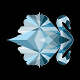Geometric vector swan with reflection in blue shades isolated on black background Royalty Free Stock Images
