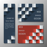 Geometric vertical and horizontal banners of varying width with the 3D effect for a business website. Three banners advertising business templates vector illustration